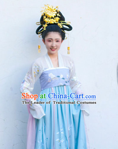Ancient Chinese Tang Dynasty Princess Long Black Wigs and Hair Jewelry for Women
