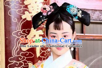 Qing Dynasty Chinese Female Black Wigs and Hair Jewelry Set