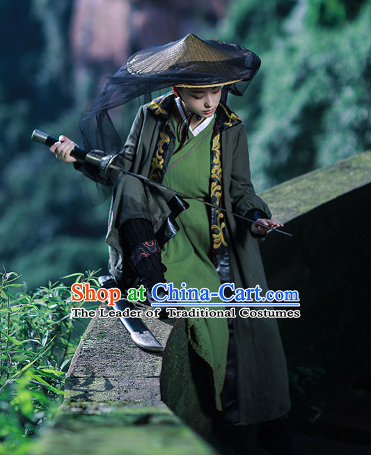 Chinese Ancient Knight Costumes and Hat Complete Set