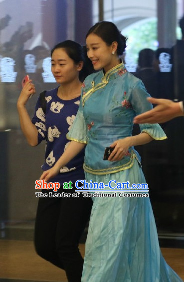 Blue Chinese Wedding Bride Maid Costume Folk Chinese Group Dance Costumes Carnival Costumes Fancy Dress