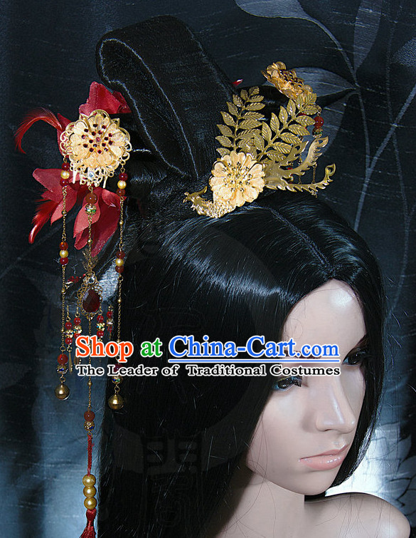 Ancient Asian Chinese Japenese Korean Queen Princess Empress Cosplay Long Wigs Classic Lace Front Toupee Hair Extensions Wig and Hair Jewelry Set