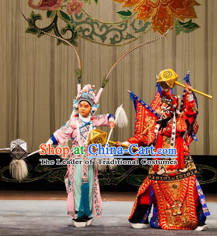 Red Ancient Chinese Asian Peking Opera Costumes Fighting or Military Character Wu Sheng Costume and Helmet Complete Set for Men