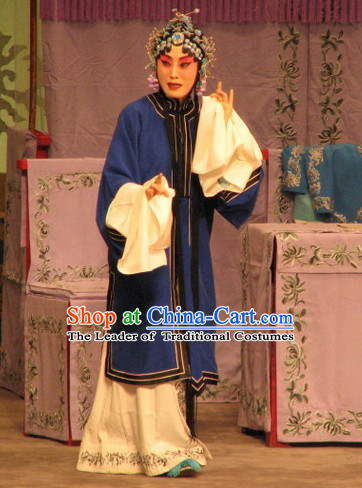 Blue Ancient Chinese Asian Peking Opera Costumes Qing Yi Costume and Hair Jewelry Complete Set for Women