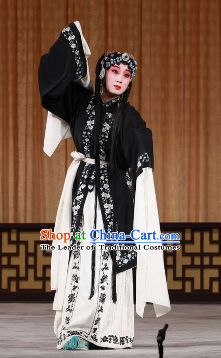 Black Ancient Chinese Asian Peking Opera Costumes Qing Yi Costume and Hair Jewelry Complete Set