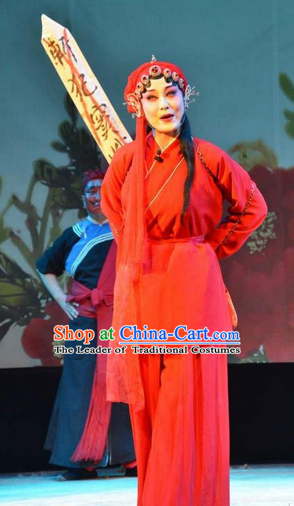 Ancient Chinese Asian Peking Opera Costumes Qin Xianglian Prisoner Costume and Headwear Complete Set