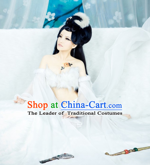 Traditional Chinese Asian Fairy Costumes Folk Costume and Headwear Complete Set