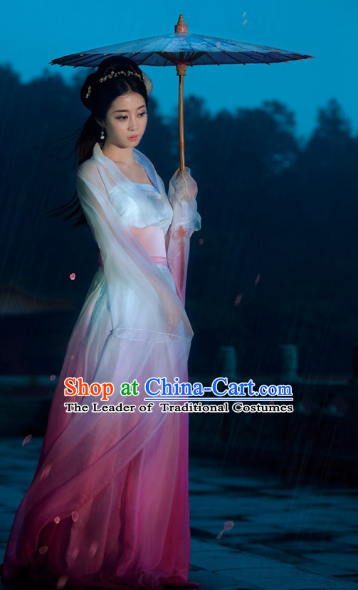 Water Sleeves Traditional Chinese Asian Fairy Costumes Folk Costume and Headwear Complete Set
