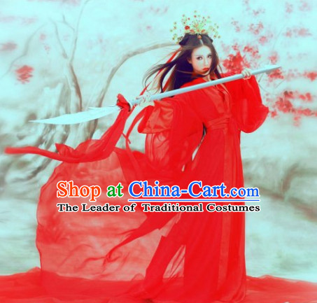 Red Traditional Chinese Asian Fairy Costumes Folk Costume and Headwear Complete Set
