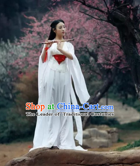 Ancient Asian Chinese Japenese Fairy Cosplay Knight Costumes and Hair Jewelry Complete Set