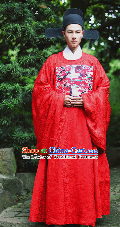 Chinese Costume Ancient Asian Wedding Clothing Ming Dynasty Clothes Garment Outfits Suits Bridal Dress for Men