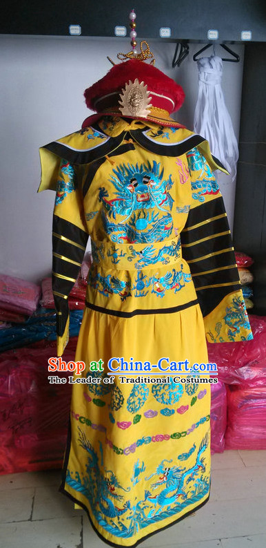 Chinese Opera Costumes Beijing Opera Costume Peking Stage Dress Emperor Dragon Robe and Hat Complete Set