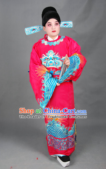 Chinese Opera Costumes Beijing Opera Costume Peking Stage Chancellor Prime Minster Official Dress Dragon Robe Complete Set