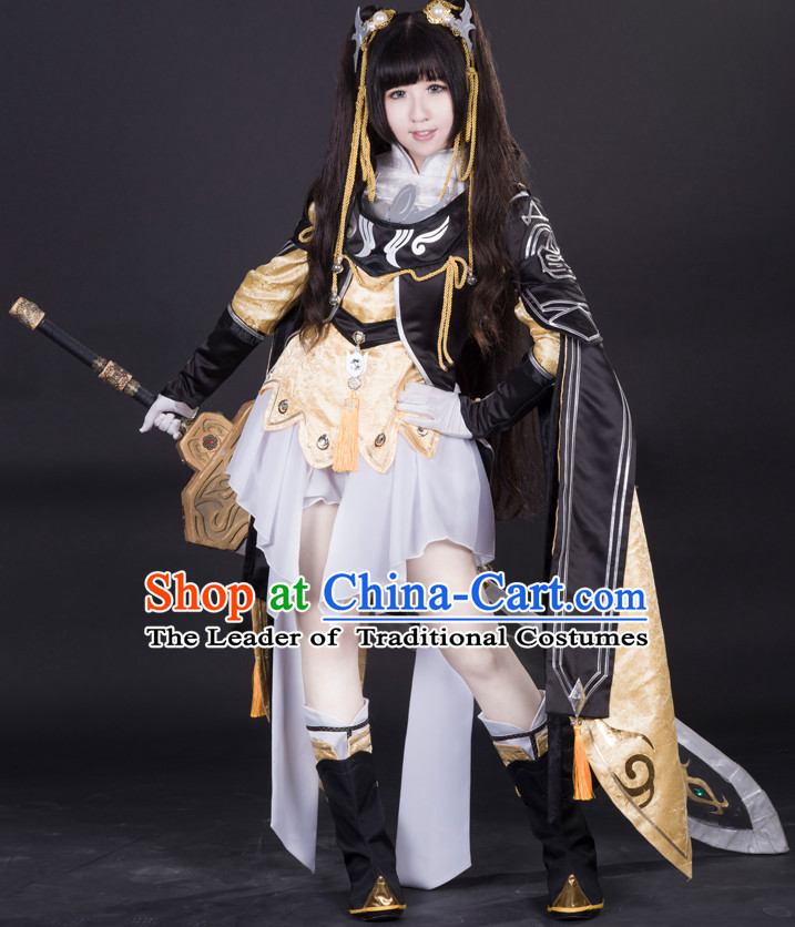 Ancient Chinese Princess Cosplay Costumes and Hair Accessories Complete Set for Women