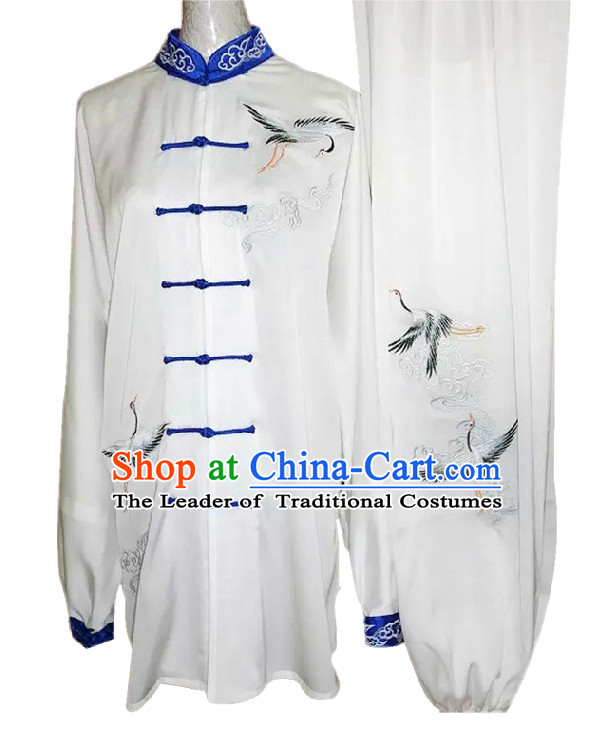 Top Crane Embroidery Kung Fu Martial Arts Taekwondo Karate Uniform Suppliers Clothing Dress Costumes Clothes for Men Women Adults Boys Girls Kids