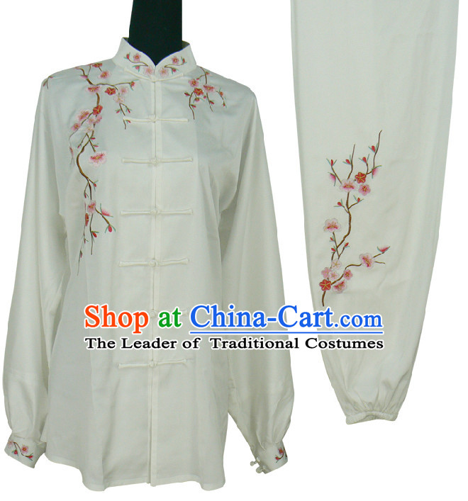 Top Plum Blossom Embroidery Kung Fu Martial Arts Taekwondo Karate Uniform Suppliers Clothing Dress Costumes Clothes for Men Women Adults Boys Girls Kids