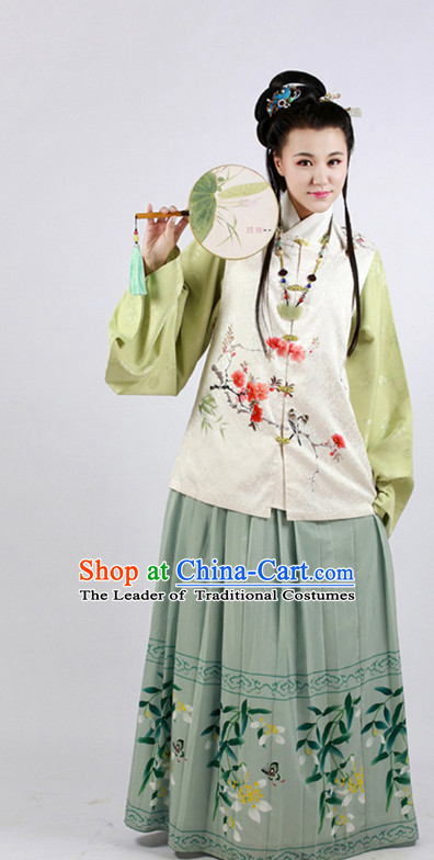 Chinese Ming Dynasty Wear Clothing and Hair Jewelry Complete Set for Kids Girls