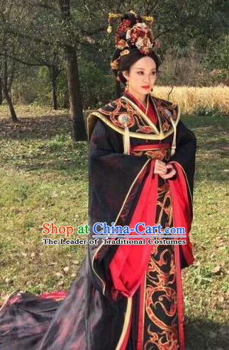 Ancient Chinese Empress Costumes and Hair Jewelry Complete Set for Women