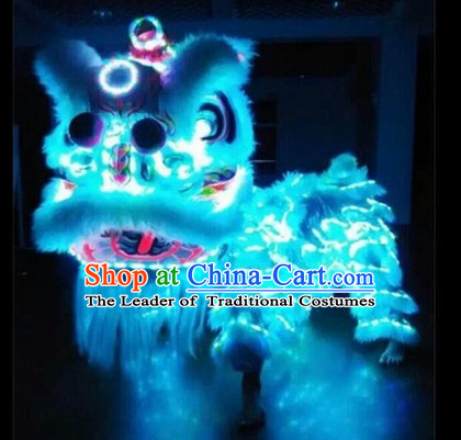 Blue Top Supreme LED Lights Lion Dance Costumes Complete Set