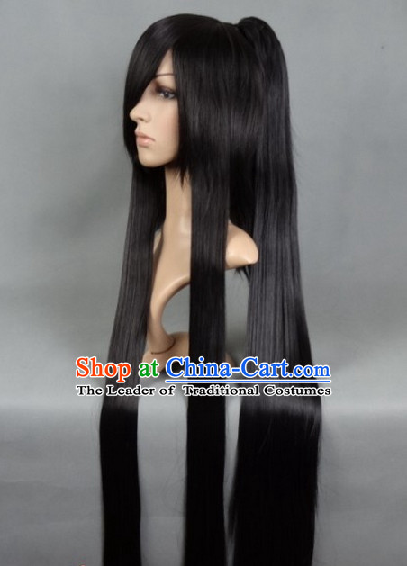 Ancient Chinese Classic Ancient Asian Korean Japanese Black Long Wigs for Men