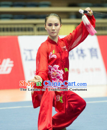 Top Professional Tai Chi Wushu Martial Arts Kung Fu Competition Uniforms Suits Outfits for Girls Women Adults Kids