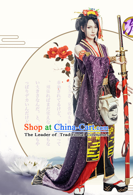 Chinese Knight Costume Ancient Chinese Costumes Japanese Korean Asian Fashion Cosplay Suits Outfits Garment Dress Clothes and Hair Jewelry for Women