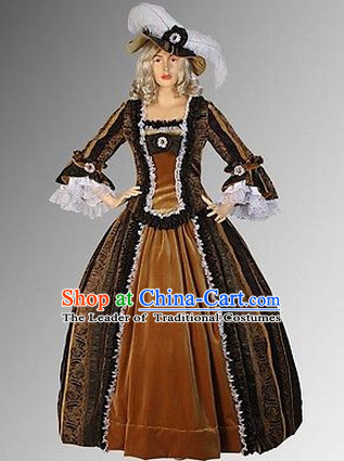 Ancient English British Medieval Costumes Baroque Wedding Dresses and Hat Complete Set for Women Girls Adults Kids