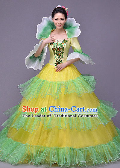 Chinese Traditional High Collar Flower Dance Costumes and Headwear Complete Set