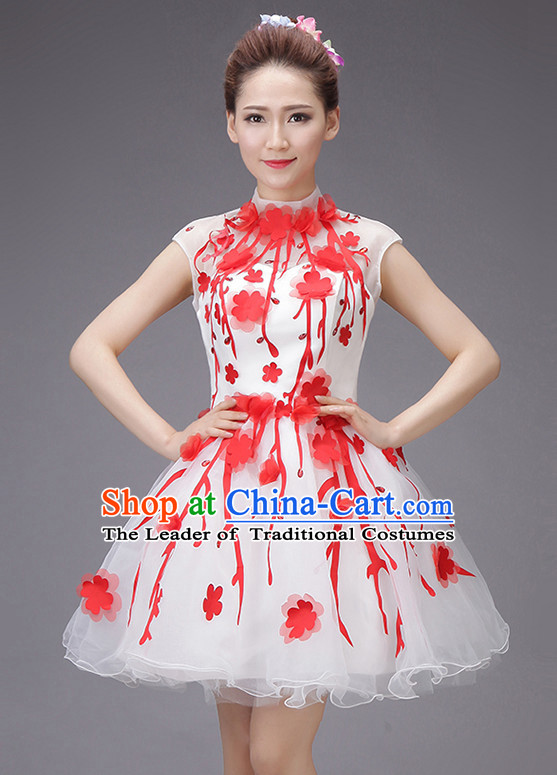 Chinese New Year Short Evening Dress Opening Dance Festival Parade Costumes and Hair Accessories Complete Set
