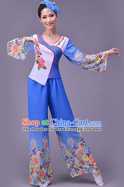 Asian Fan Dance Uniform Singing Choir Outfits Dancing Costume Stage Opening Dance Costume Parade Competition Dancewear Complete Set