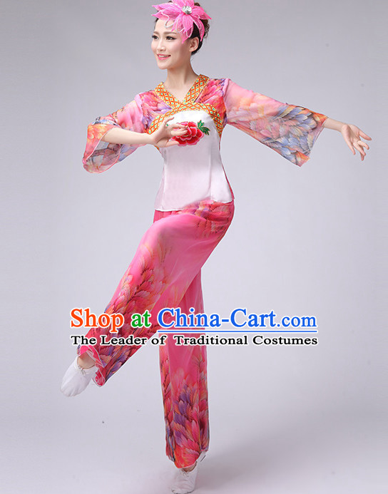 Asian Chinese Lantern Dancing Costume Fan Dancing Costume Uniform Outfits Stage Opening Dance Costumes Parade Competition Dancewear Complete Set