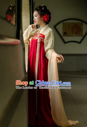 Asian Chinese Tang Dynasty Clothing and Hair Accessories Clothing Complete Set for Women