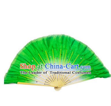 Green 16 Inches Pure Silk Color Change Chinese Dance Belly Dance Hand Fans Hand Fan Japanese Wedding Fans Oriental Fan