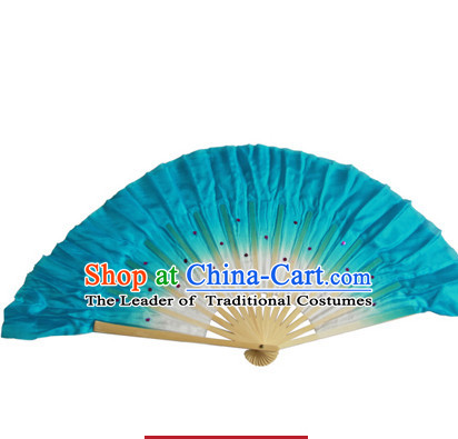 Blue 16 Inches Pure Silk Color Change Chinese Dance Belly Dance Hand Fans Hand Fan Japanese Wedding Fans Oriental Fan