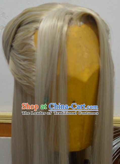 Ancient Chinese Japanese Korean Asian Long Wigs Cosplay Wig Performance Hair Extensions Real Wigs Toupee Full Lace Front Weave Pieces and Accessories for Men