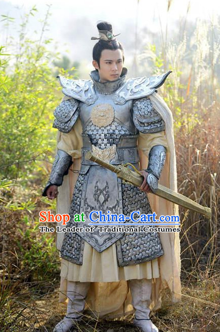 Ancient Chinese General Armor and Headwear Complete Set for Men
