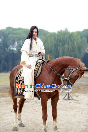 Ancient Chinese Hanfu Dress and Headwear Complete Set for Men