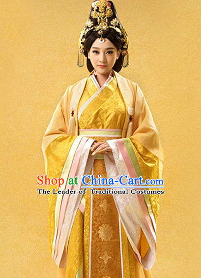 Ancient Chinese Empress Han Fu Dress and Hair Jewelry Complete Set for Women