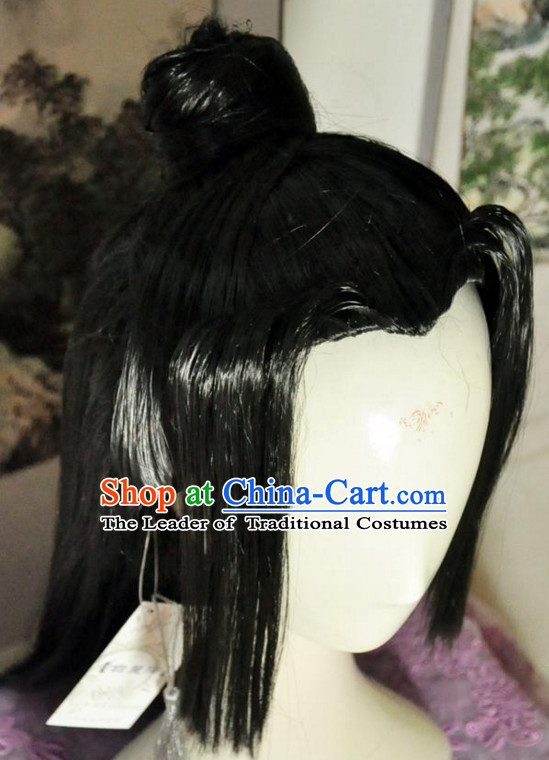 Chinese Long Wig Hair Extensions Real Wigs Toupee Full Lace Front Wigs Weave Pieces for Men