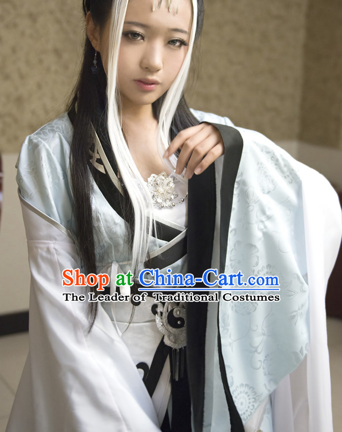 Chinese Ancient Female Taoist Nun Costume Garment Dress Costumes Dress Adults Cosplay Japanese Korean Asian King Clothing for Women