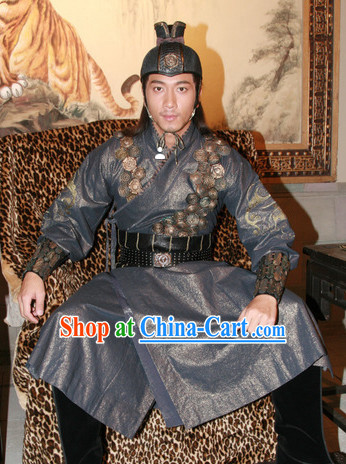 Chinese Ancient Knight Costume and Hat Complete Set for Men