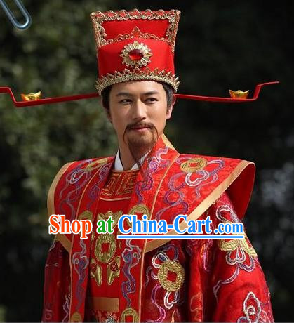 Traditional Chinese Cai Shen Clothing and Hat