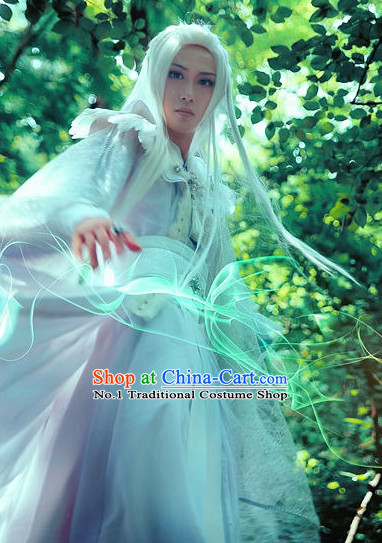 Asian Traditional Magian White Costumes and Accessories for Men