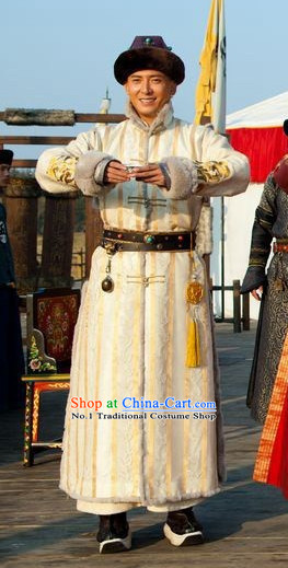Qing Dynasty Prince Winter Long Robe Clothes and Hat Complete Set