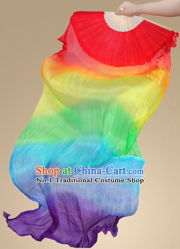 71 Inches Long Pure Silk Fan Veils