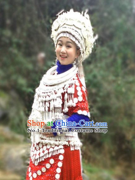 China Miao Minority Ethnic Clothes and Miao Silver Accessories for Women