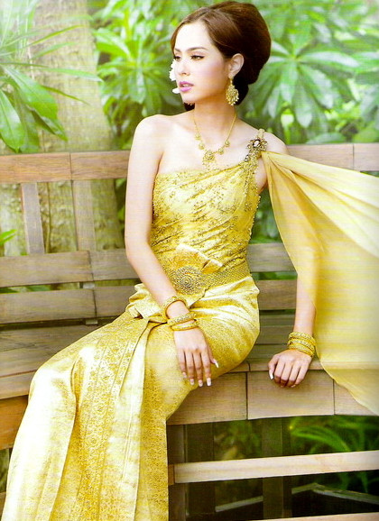 Thai Traditional Dress Formal Thai Traditional National Costumes for Women