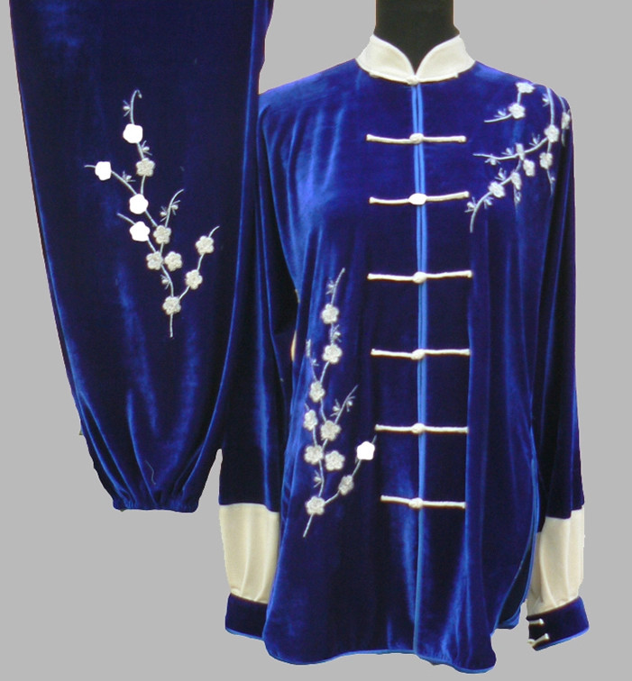 Black Top Velvet Embroidery Plum Blossom Kung Fu Pants and Blouse Complete Set for Women