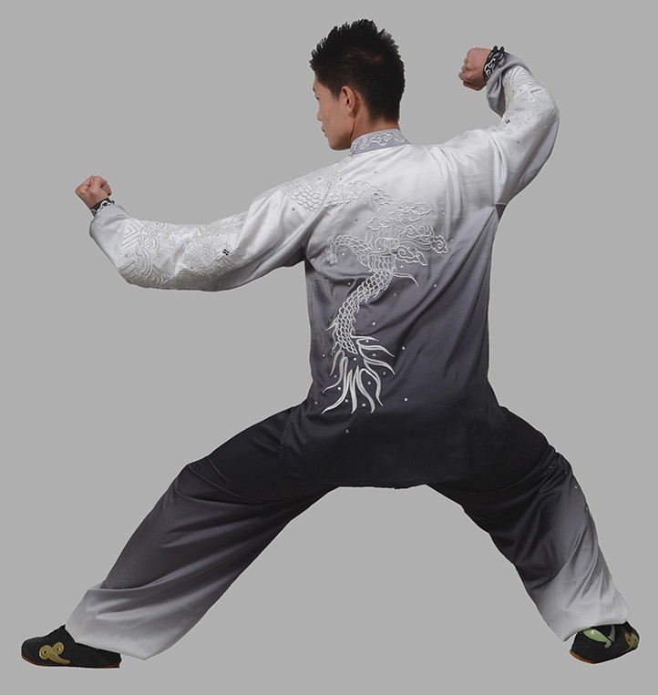 Color Transition Long Sleeves Big Dragon Embroidery Wushu Suits