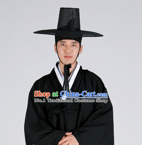 Korean Ancient Scholar Long Robe Costumes and Hat for Men