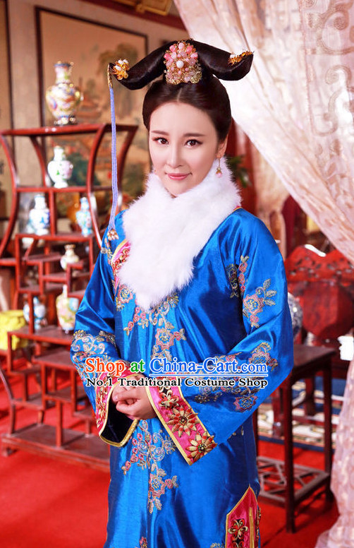 Chinese Manchu Imperial Empress Long Robe and Headwear Complete Set